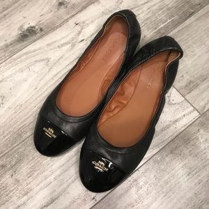 Coach Flats Black with Patent Toe Gold Hardware